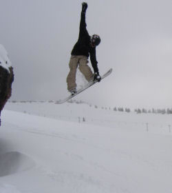 Attitude Sports employee Ethan snowboarding on our spring break trip to Vail